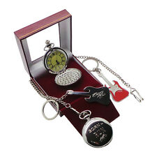 Signed BRUCE SPRINGSTEEN Pocket Watch with Chain and Red Electric Guitar Keyring