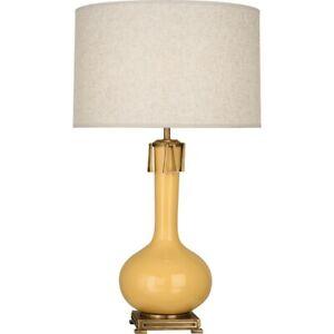 Robert Abbey Athena 1 Light Table Lamp, Sunset Yellow/Aged Brass - SU992