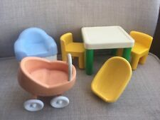 Little Tikes Dollhouse Furniture Table Chair Bassinet Yellow Green Blue