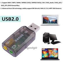 USB Sound Card 5.1 CH 3D Audio Adapter for Desktop Laptop Notebook Computer PC