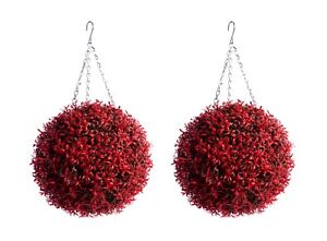 2 Best Artificial Outdoor 30cm Red Rosemary Lush Christmas Topiary Flower Ball