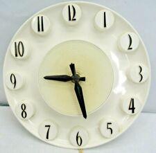 Vintage 1950's Spartus White and Black Kitchen Wall Clock Art Deco