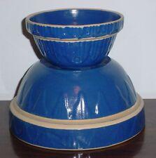 Blue Yellowware Crock Bowl Nesting Set of 2 USA Classic Stoneware