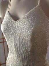 Cache Beaded Gown Ivory Cream XS Beautiful Sexy Open Back Wedding Prom
