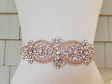 Wedding Belt, Wedding Sash, Bridal Sash, Rhinestones with Rose Gold Accents