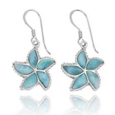 Unique Handmade StarFish Silver Earrings With Natural Larimar Stone Amazing Gift