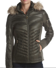 Michael Kors Down Quilted Fax Fur Hooded Packable Puffer Coat Olive Medium NEW