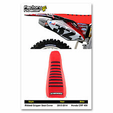 2013-2015  HONDA CRF 450 Seat Cover  Red with Black Ribs RIBBED BY Enjoy Mfg