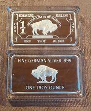 (2)  1 Troy oz German Silver Buffalo Collectible Art Bar W/CASE      (247)