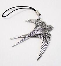 Swallow Bird Bag / Phone Charm in Fine English Pewter, Handmade, (tsh)