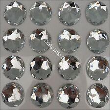 24 x 20mm CLEAR ROUND Rhinestone Diamante Stick On Self Adhesive GEMS Diamonte