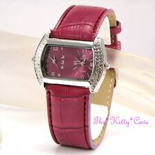 Raspberry Pink Silver Ladies Twin Time Dual Dial Zone Watch w Swarovski Crystals