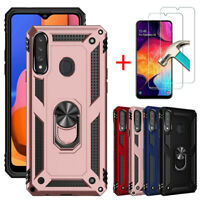 For Samsung Galaxy A20S Case Ring Holder Stand Hard Phone Cover Screen Protector