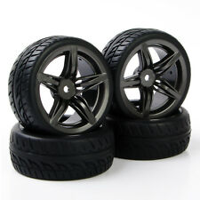 4Pcs Rubber Flat Racing On Road Tires Rims PP0150+12FM For HSP HPI 1:10RC Car