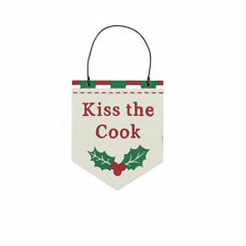 Kiss the Cook Hanging Christmas Plaque - Cracker Filler Gift