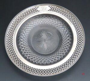 Vintage Watson Sterling Silver & Beautiful Cut Glass Plate