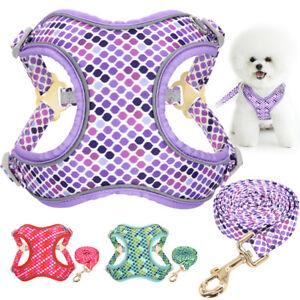 Reflective Dog Harness and Leash Set Nylon Adjustable Mesh Padded Pet Vest S/M/L