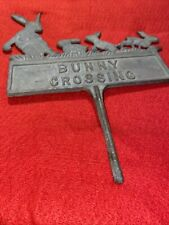 Vintage Cast Metal Bunny Crossing Garden Yard Sign Stake