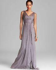 AMSALE ~ Gray Silk Chiffon Sleeveless V-Neck Ruffle Formal Gown 0 NEW $310
