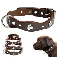 Metal Paw Studded Real Leather Dog Collars for Small Medium Dogs Flower Shape