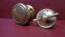 VINTAGE HEAVY CAST BRASS DOOR KNOB & T HANDLE TURN W/ROSETTES #12
