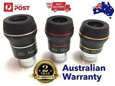 """3 x Dual ED 1.25"""" eyepiece for telescope - Choose your Focal Length! Flat field"""