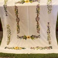 "VTG THROW BLANKET WRAP Beige WOOL Floral CREWEL EMBROIDERY Green Fringe 61x78"""