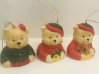 Set of 3 Bear Bells Porcelain Hand Painted Ornaments