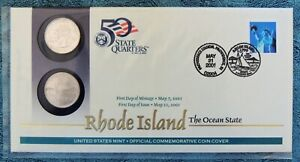 RHODE ISLAND FIRST DAY ISSUE STATE QUARTER COVER BY U S MINT ISSUED MAY 21, 2001