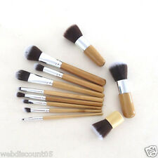 11pc Bamboo Makeup Fiber Eyeshadow Set Cosmetic Brush Brushes Tool Bag UK Seller