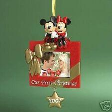 RARE Disney 2007 MICKEY & MINNIE OUR 1ST CHRISTMAS PHOTO FRAME Ornament NIB