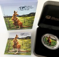 .2014 WORLD MONEY FAIR COLOURED KANGAROO UNC 99.99% SILVER $1, BOX & COA.