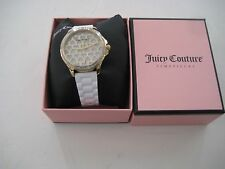 Juicy Couture 1901298 Gwen Silver Heart Dial White Silicone Band Women's Watch $