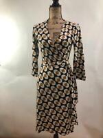 Diane von Furstenberg Julian retro Pattern Wrap Dress Size 6 (r1000