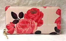 Kate Spade PWRU5536 Cameron Street Roses Lacey Zip Wallet PINK SAND Red NWT