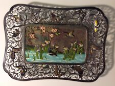 "Antique Chinese enamel STERLING SILVER TRAY translation ""Pure Youth/Innocent"""