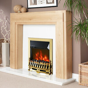 TRUFLAME LED GOLD ELECTRIC FIRE INSET FREESTANDING WITH COALS TRADITIONAL