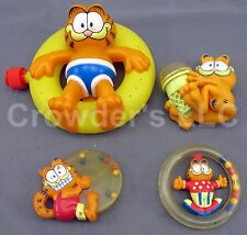 Lot of 4 Vintage Garfield Collectible Toys, Sprinkler Teething Ring Baby Toy