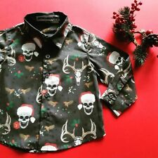Metallimonsters Santa Totenkopf Kinder Geknöpft Christmas Hemd Alternative Gotik