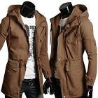 Mens Military Casual Slim fit Parka Jacket Long Trench Coat Military Windbreaker