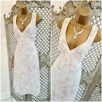NEW LOOK 💋 UK 12 Spring Floral Linen Mix Fit & Flare Tea Day Dress ~ Free P&P ~