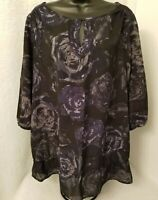 Just My Size Womens Black Blue Gray Floral Shirt Top Blouse Size 2X 18W 20W