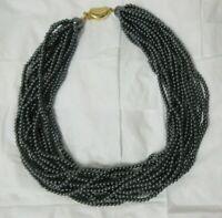 Stunning Carolee Multi Strand Dainty Black Bead Choker Necklace