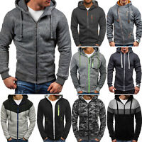 Men's Zip Outwear Sweater GYM Hoodie Warmer Coat Jacket Hooded Sweatshirt Tops