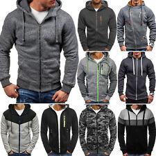 Mens Zip Up Hooded Pocket Sports Gym Coat Top Hoodie Jumper Jacket Sweatshirt