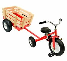 All Terrain Red Tricycle with Wagon Trike Set Pull Along Toy Outdoors Kids Pedal
