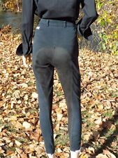 "KENTUCKY BREECHES GERMAN LUXURY EQUESTRIAN PANTS 25.5"" BLACK SUEDE WEAR PANELS"