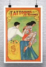 Tattooing By Stoney Vintage Freak Show Poster Canvas Giclee Print 24x32 in.