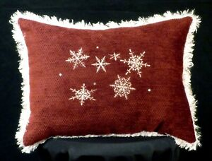 New Embroidered Fluffy Burgundy & White Snowflake Accent Pillow Christmas Pillow