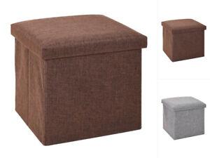 Koopman Stauraumhocker Braun Grau 38x38x38cm Sitzhocker Sitzwürfel Sitzbox
